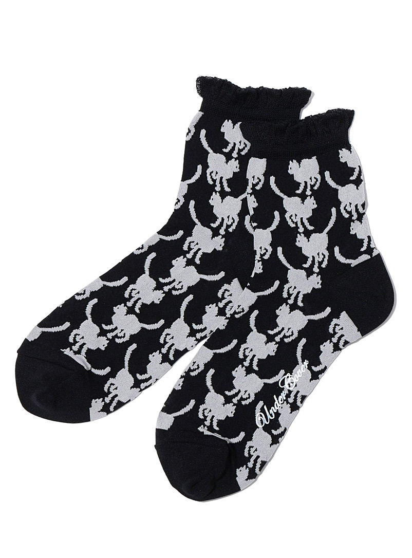 Undercover Black Feline silhouette ankle socks for women