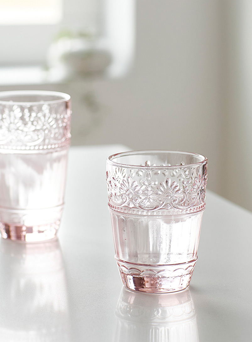 Simons Maison Assorted Pink floral glass