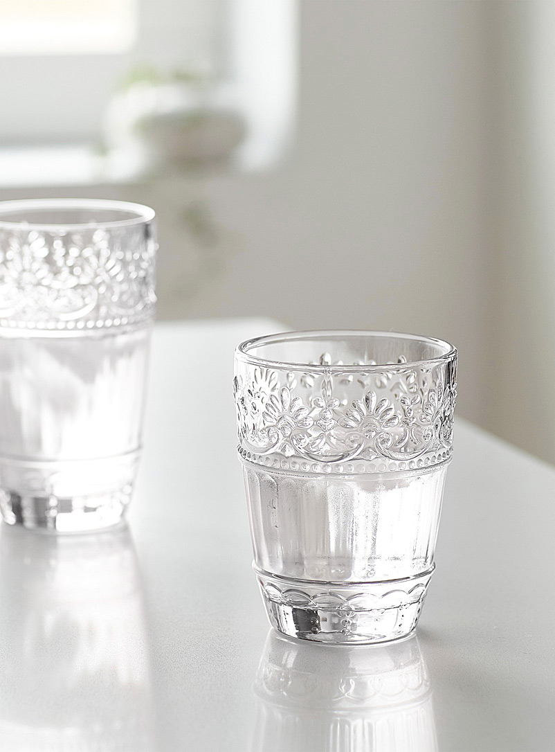 Simons Maison Assorted Embossed floral glass
