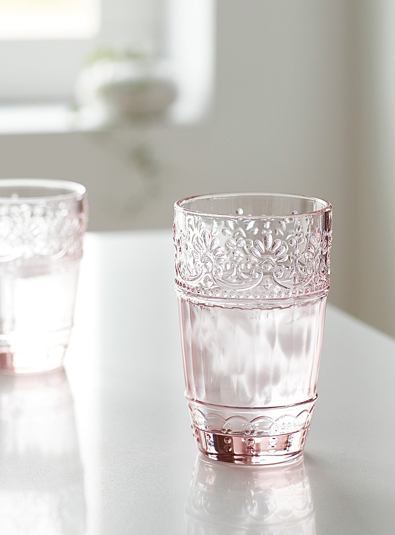Simons Maison Pink Embossed floral highball glass