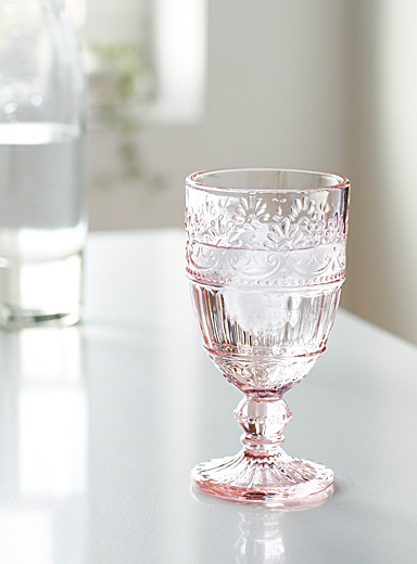 Pink floral wine glass