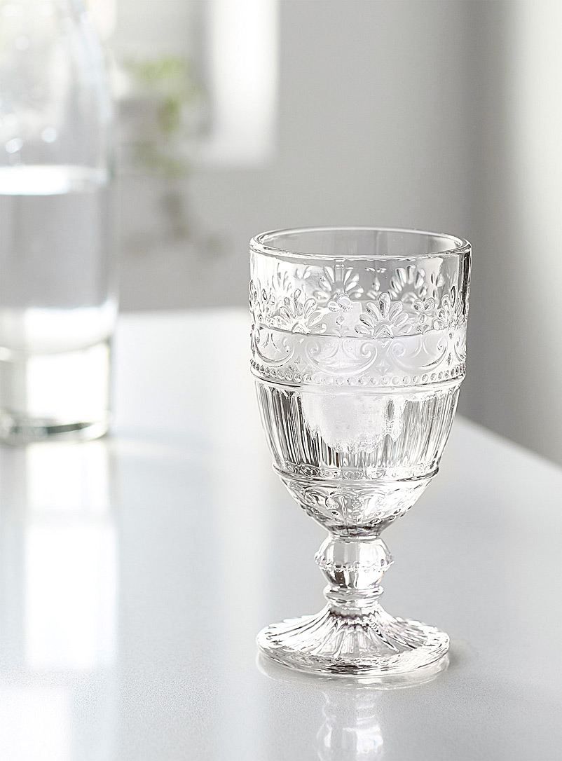 Embossed floral wine glass