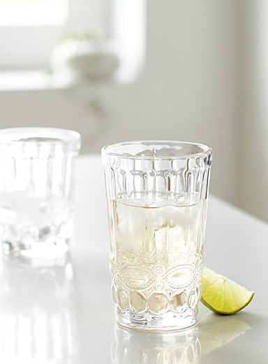 Crystalline bas-relief highball glass