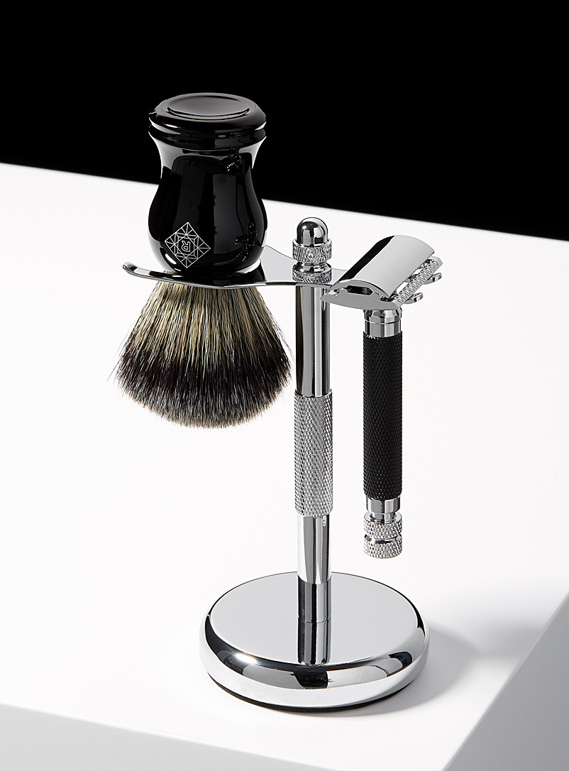 Pure Badger Assorted Chrome shaving brush and safety razor stand for men