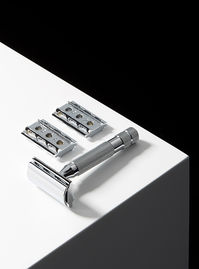 6C white chrome adjustable safety razor