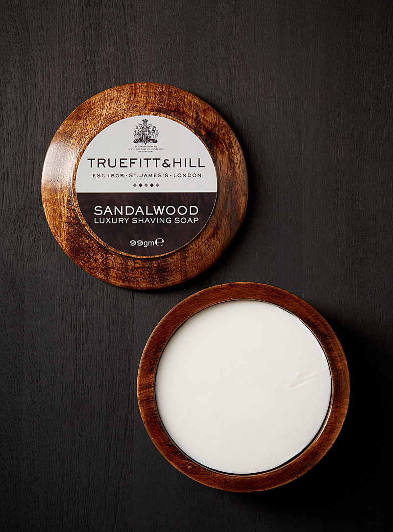 Sandalwood shaving soap in a wooden bowl