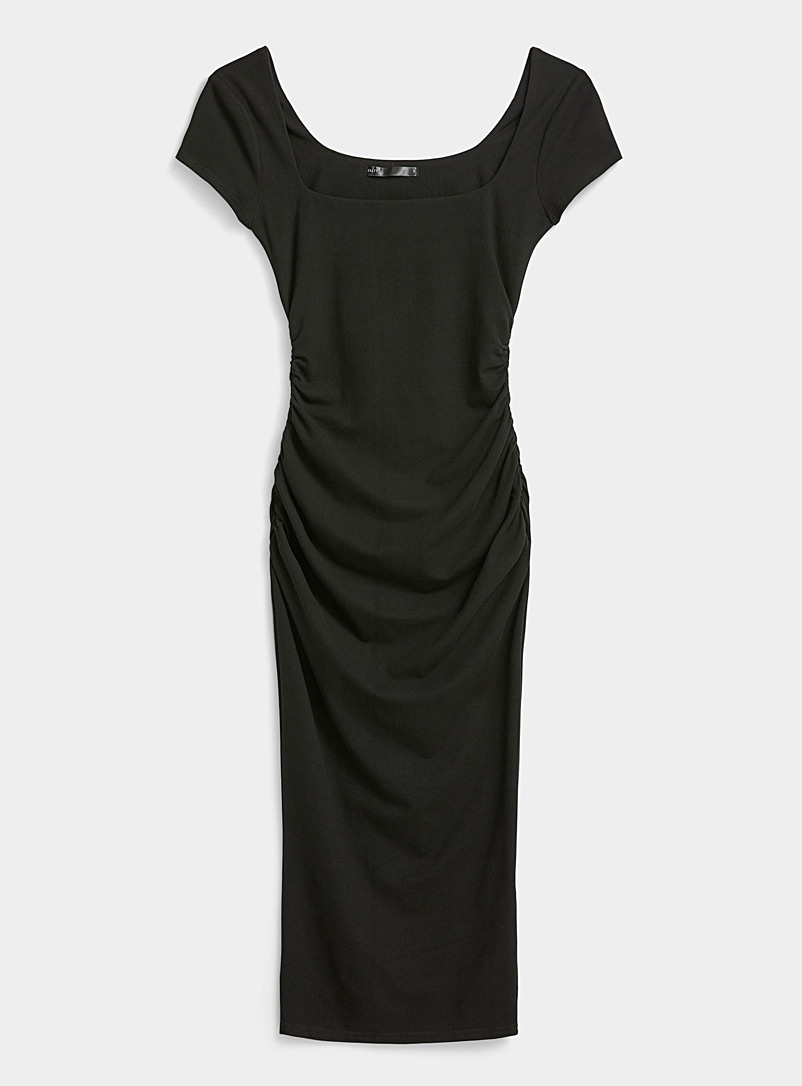 Twik Black Ruffled jersey midi dress for women