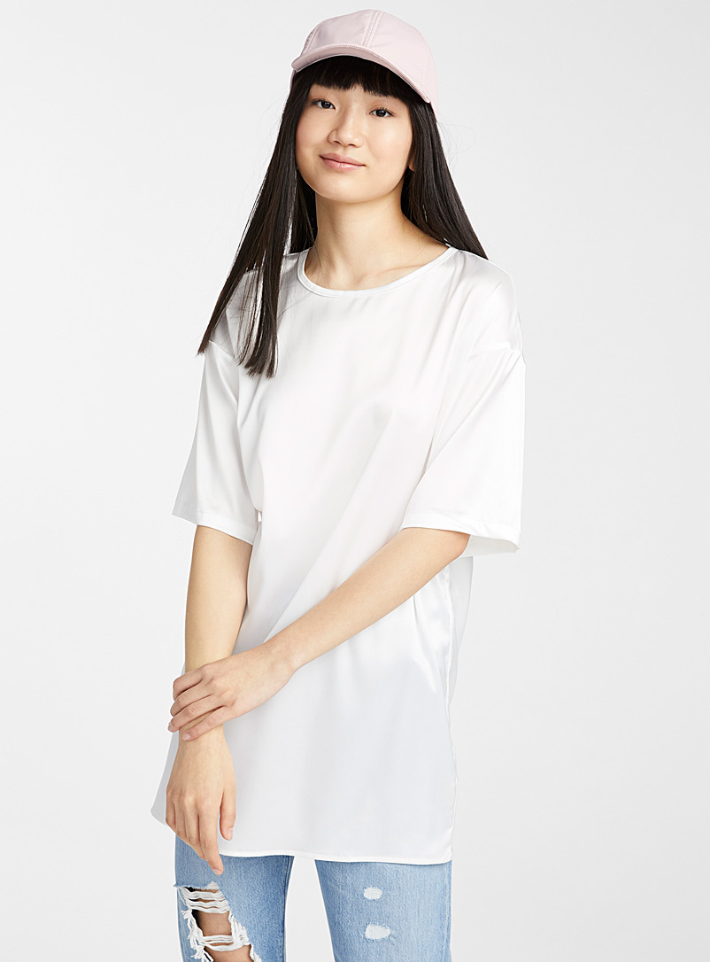 Loose satiny blouse - Blouses - White