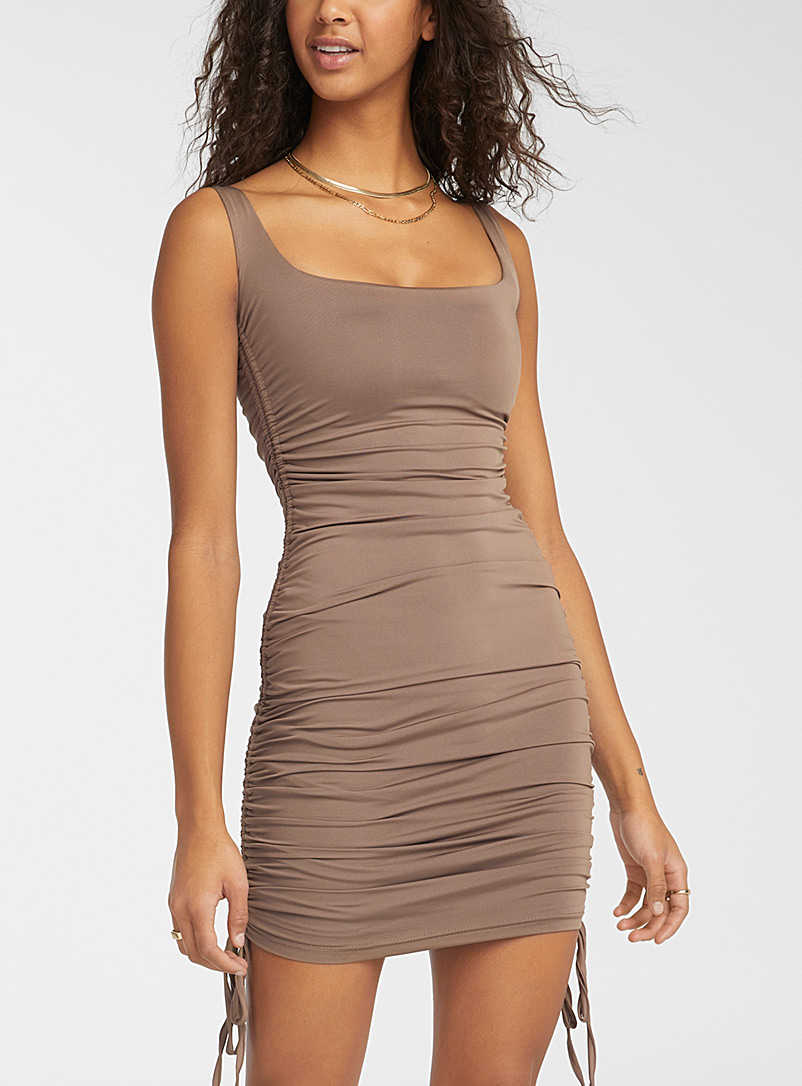 Twik Light Brown Satiny gathered fitted dress for women