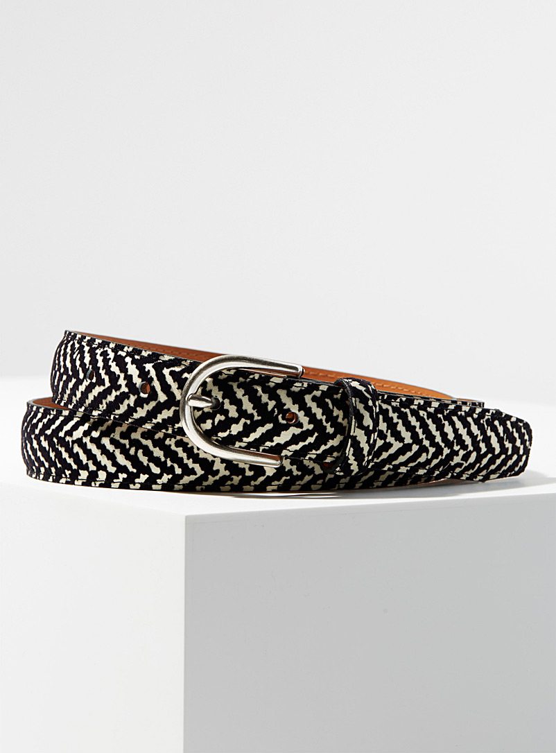 Two-tone pattern belt - Dressy - Black and White
