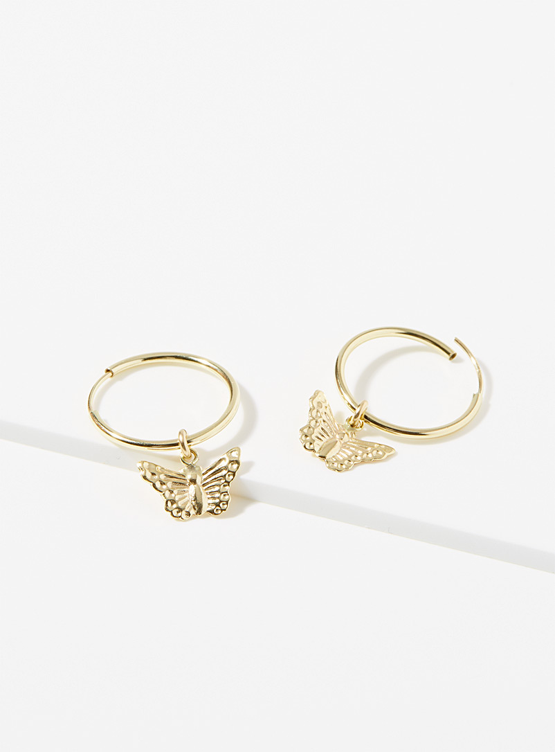 Warrior By Naomi Gold Butterfly hoop earrings for women