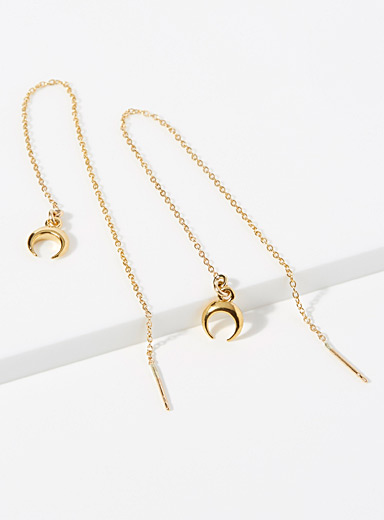 Half-moon and chain earrings