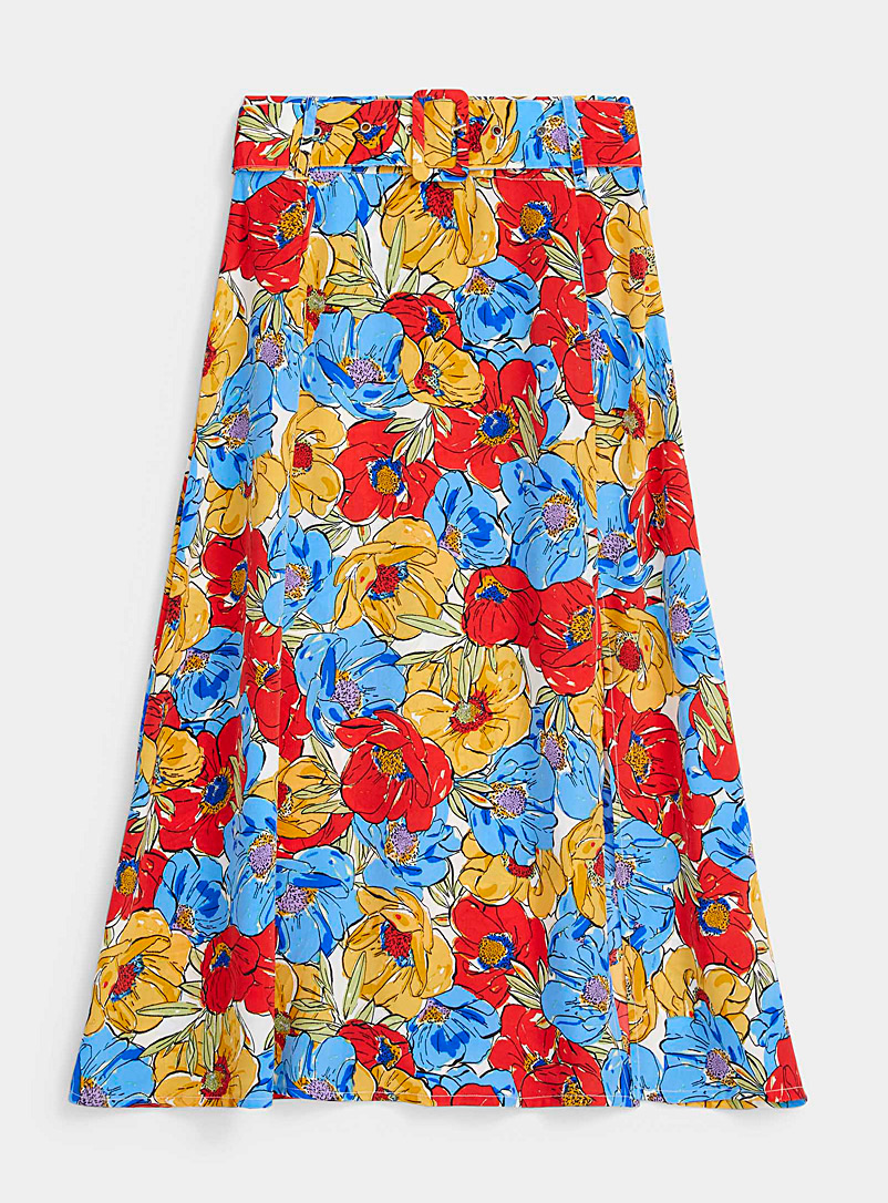 Twik Patterned Blue Bright flower geometric belted skirt for women