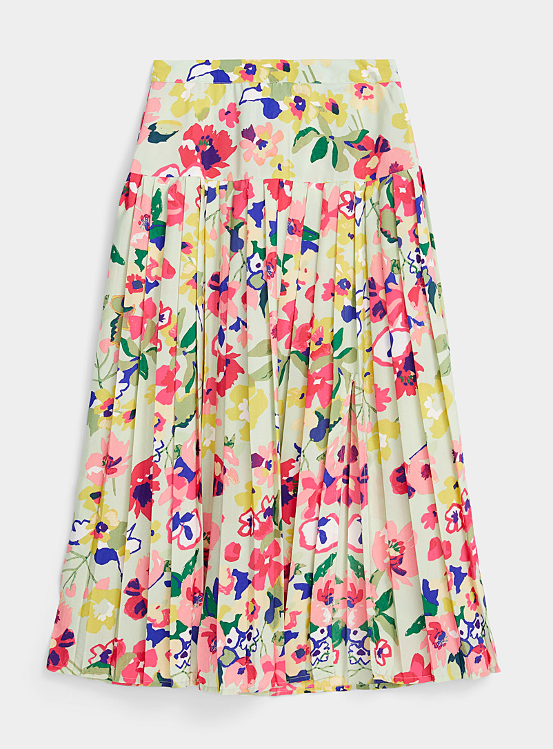 Twik Patterned Green Pleated floral midi skirt for women