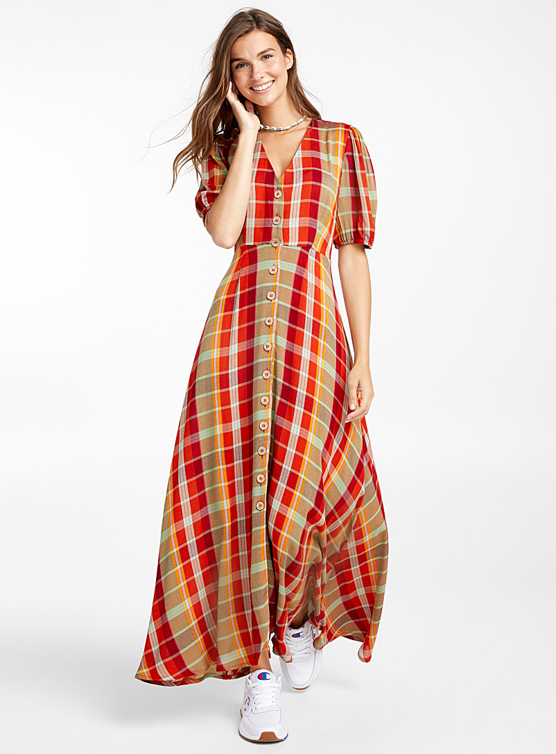 Summer plaid maxi dress - Fit & Flare - Medium Orange