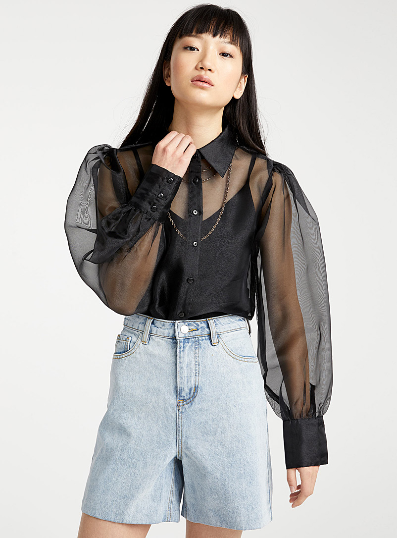 Twik Black Puff organza shirt for women