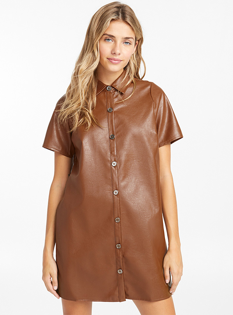 Faux-leather shirtdress - Straight - Brown