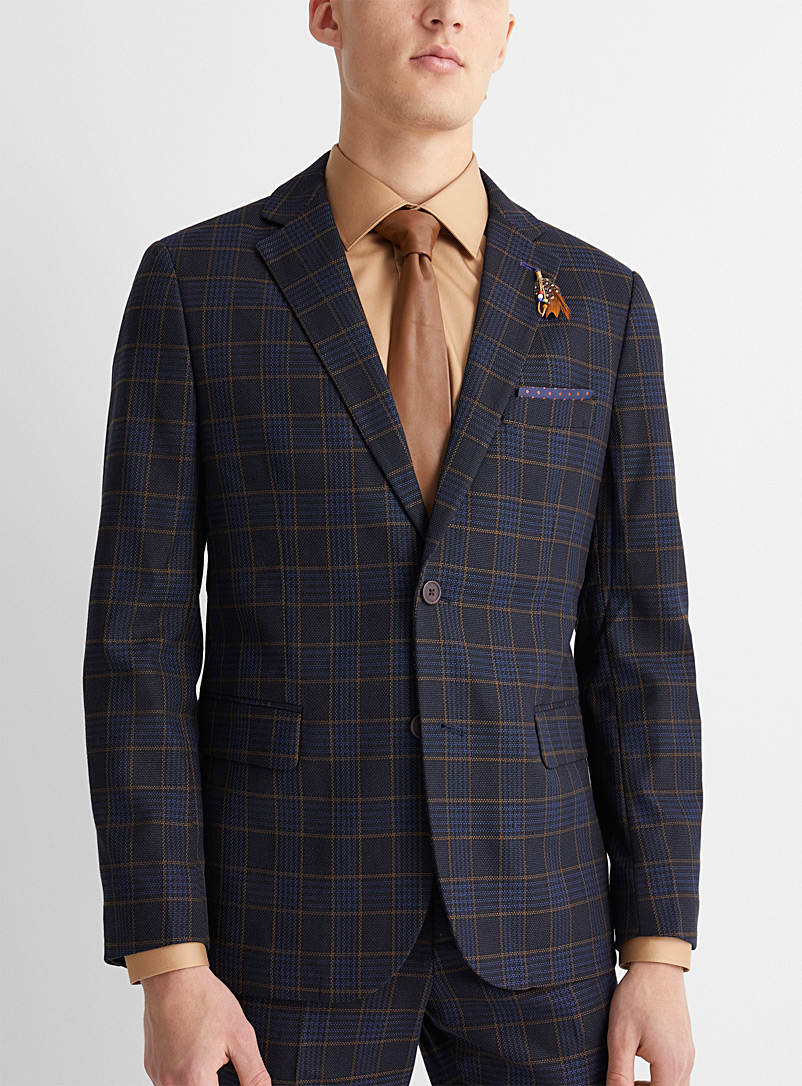 Piqué check jacket  Semi-slim fit