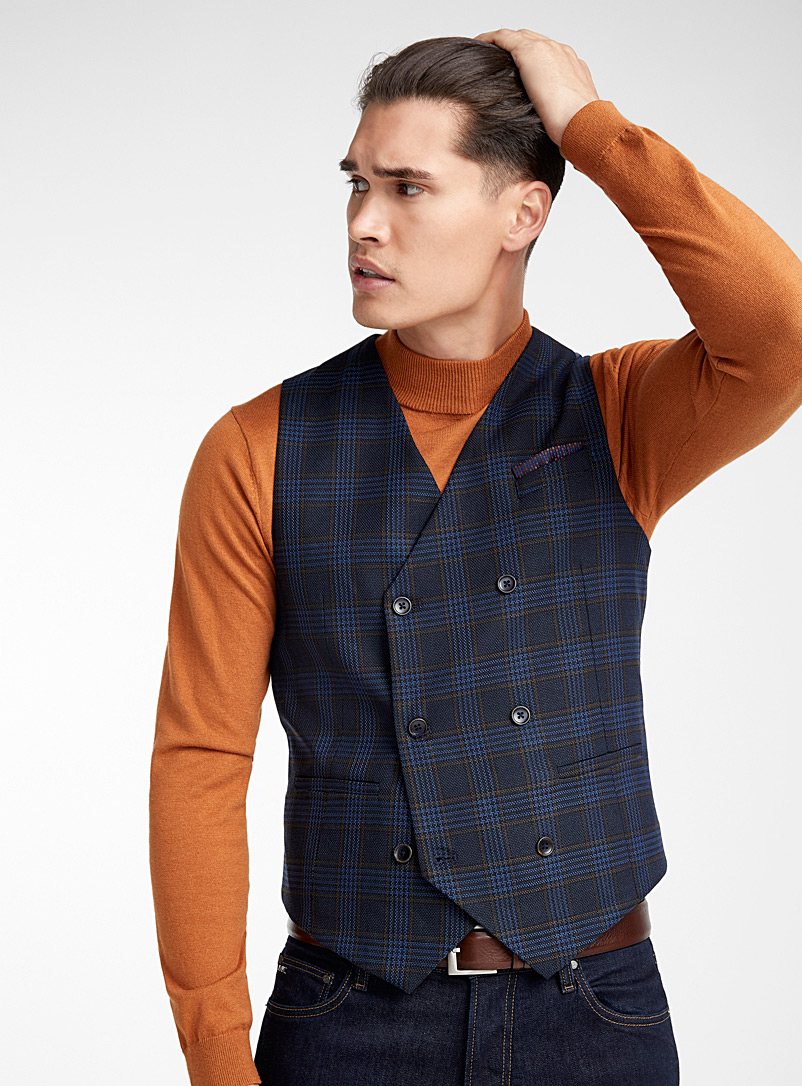 Check piqué knit vest  Semi-slim fit - Semi-slim Fit - Blue