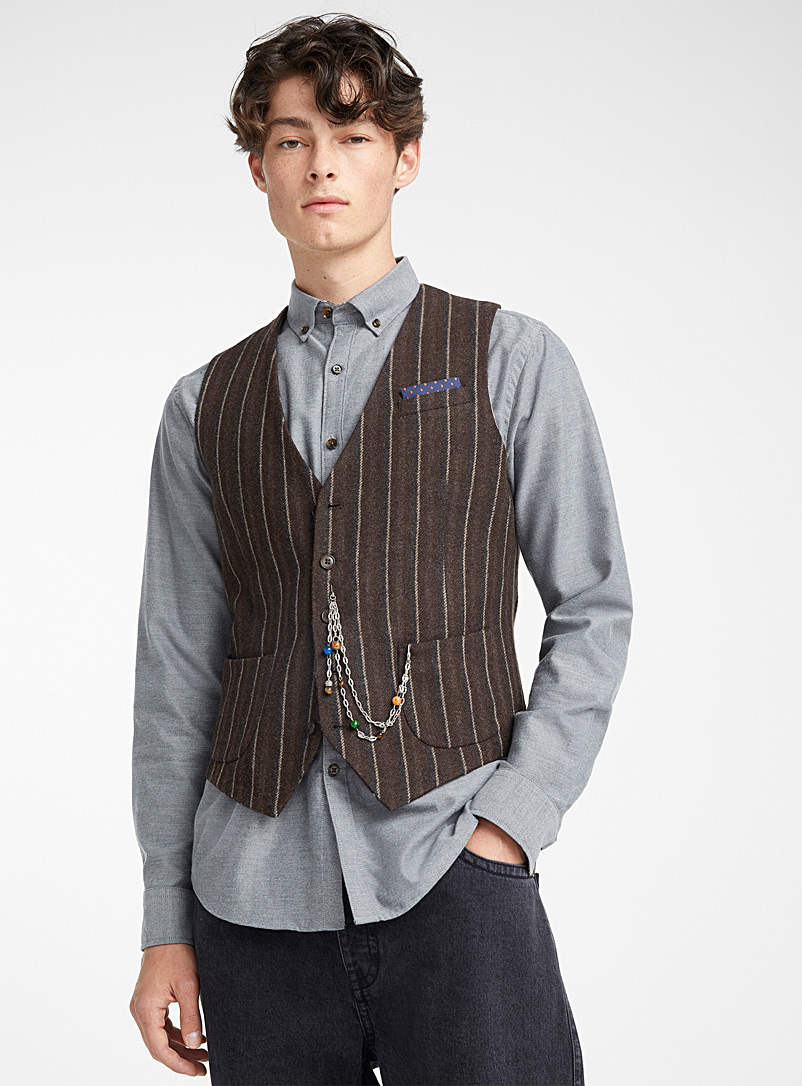 Natural stripe wool vest  Semi-slim fit - Semi-slim Fit - Dark Brown