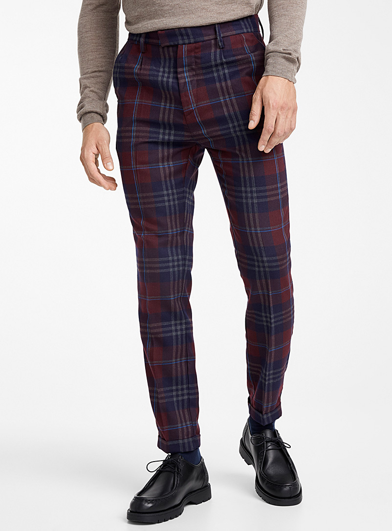 Burgundy check pant  Slim fit - Tailored