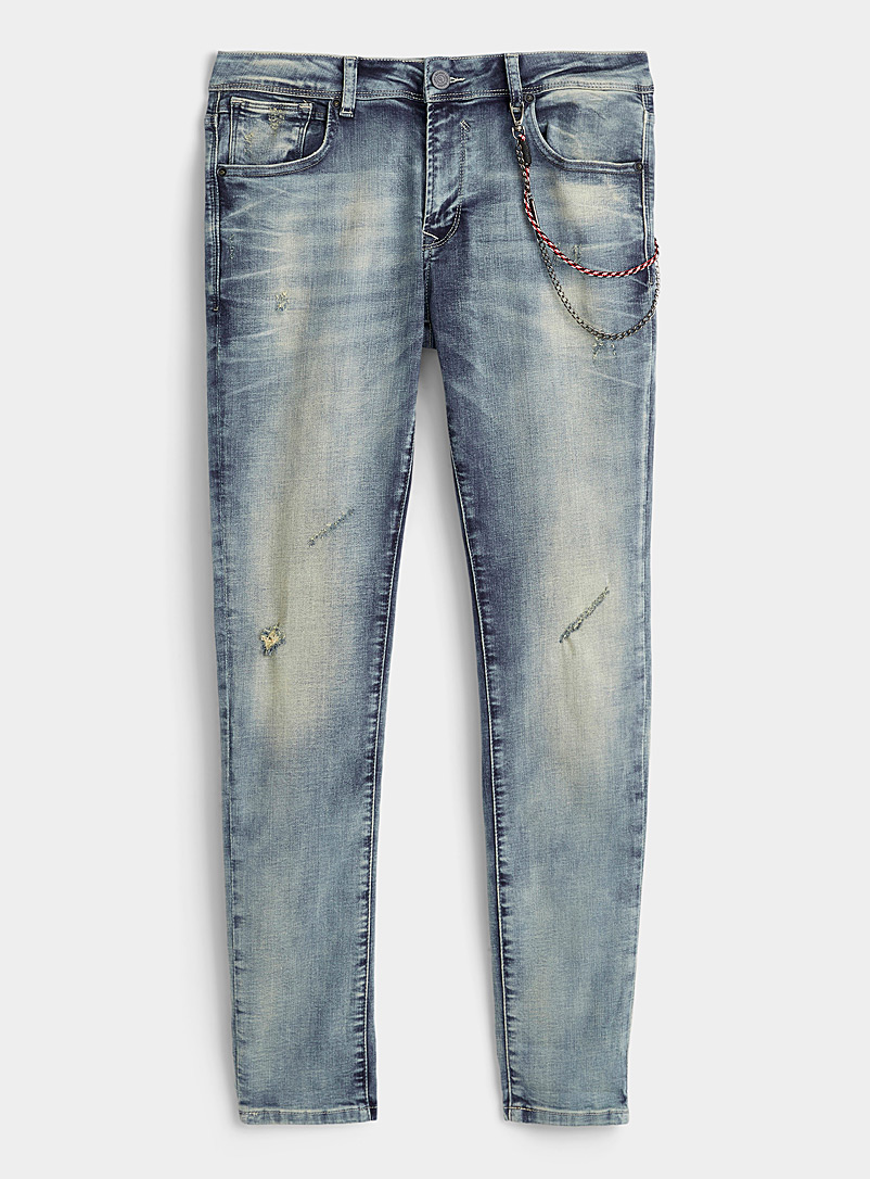 Gianni Lupo Blue Distressed cuffed jean  Skinny fit for men