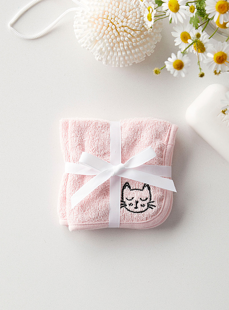 Simons Maison Pink Cute kitten children facecloths  Set of 2