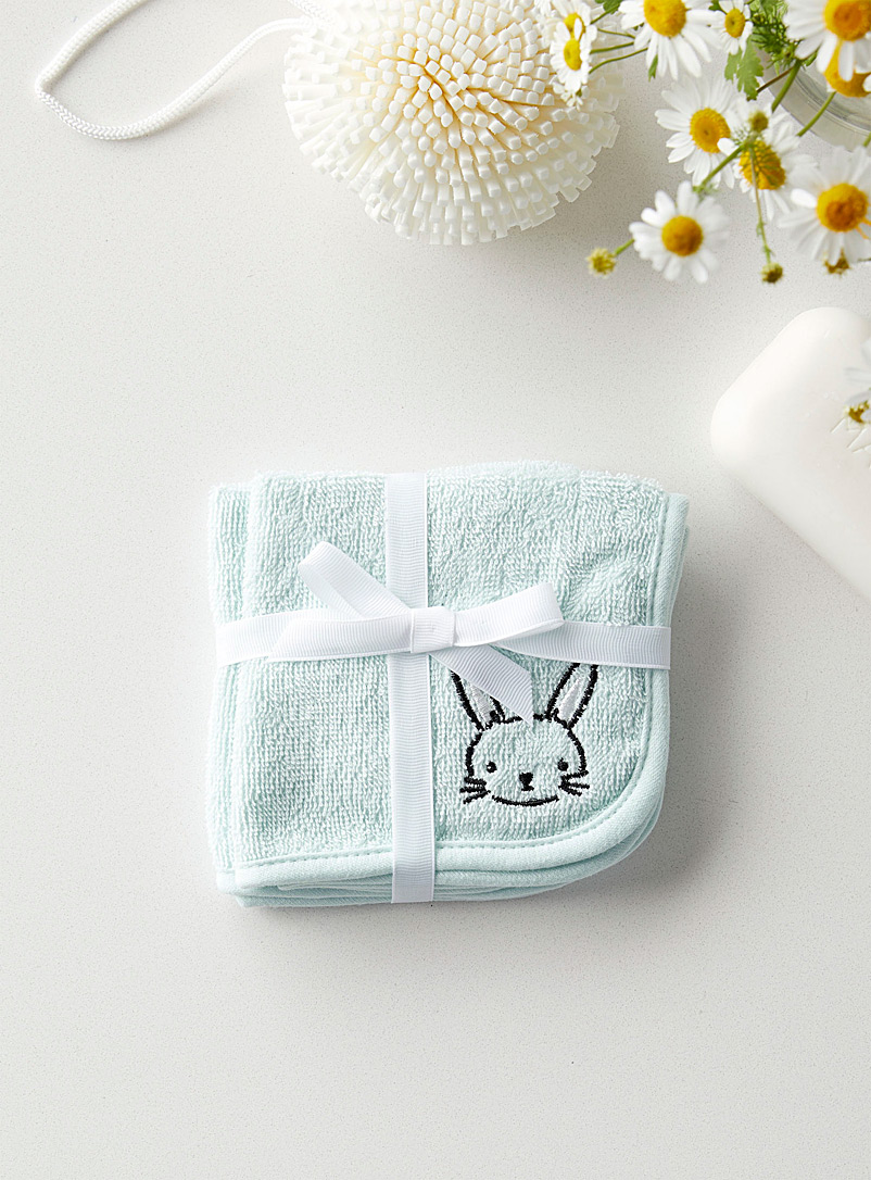 Simons Maison Mint Blue Sweet bunny children facecloths  Set of 2