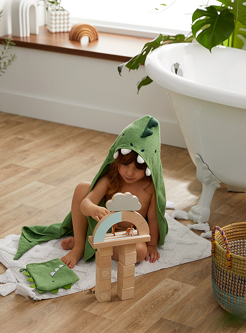 Simons Maison Green Dino buddy bath cape