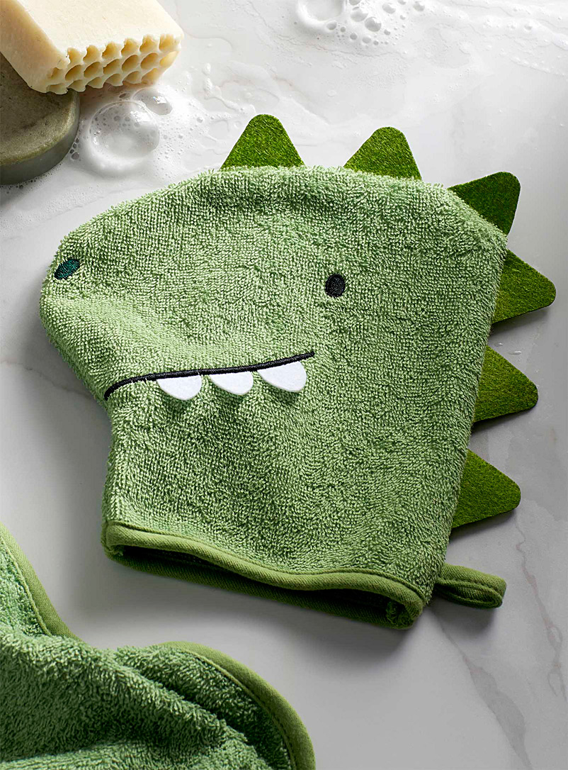 Simons Maison Green Dino buddy children wash mitt