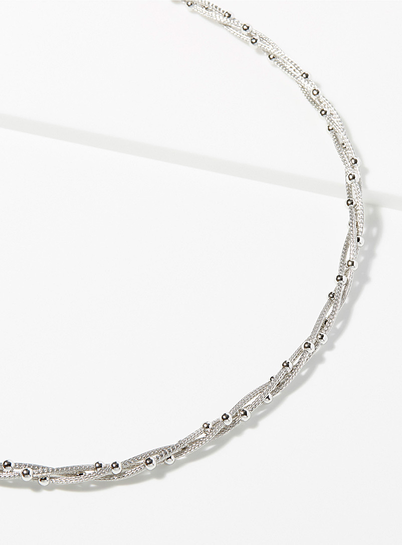 Intertwined wires necklace - Genuine Silver - Silver