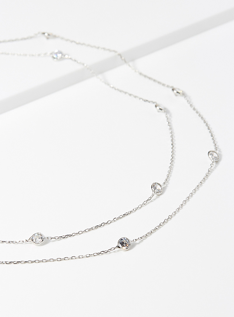Simons Silver Shimmery stone chain necklace for women