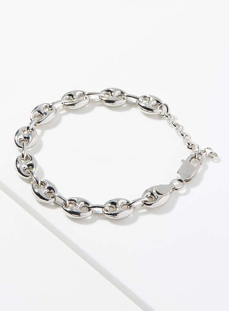 Le 31 Silver Coffee bean chain bracelet for men