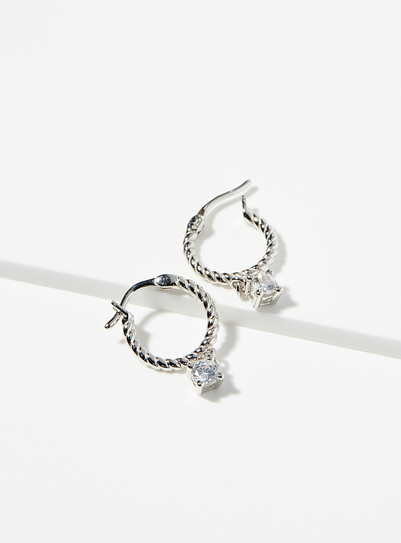 Midi34 x Simons Silver Les Justine hoops for women