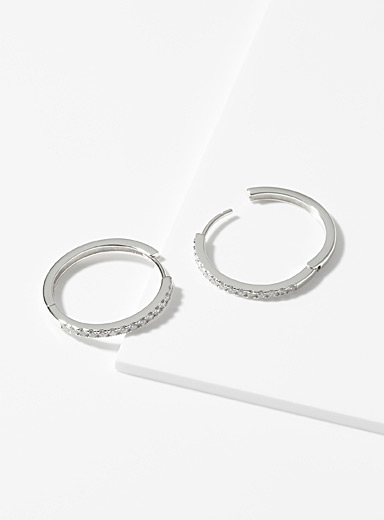 Midi34 x Simons Silver Les Janelle hoops for women