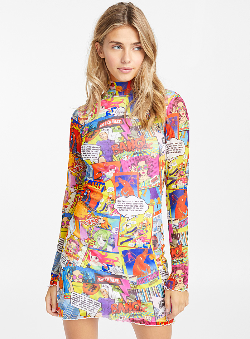 Jaded London Assorted Comic book mesh dress for women