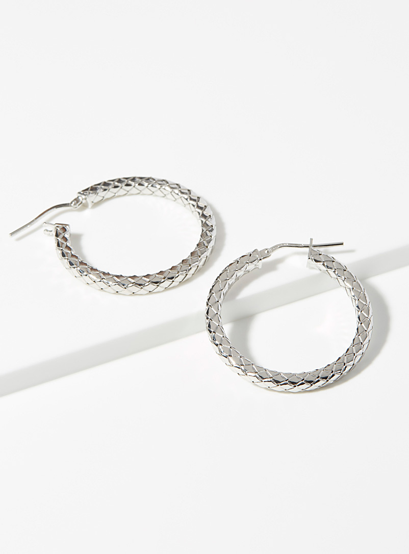 Braided silver earrings - Genuine Silver