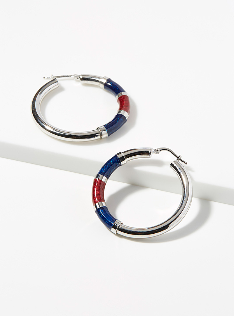 Blue accent silver hoops - Genuine Silver - Silver