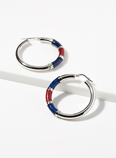 Blue accent silver hoops