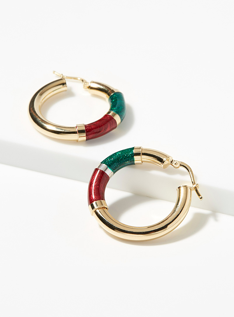 Shimmery colourful accent hoops - Genuine Silver - Assorted