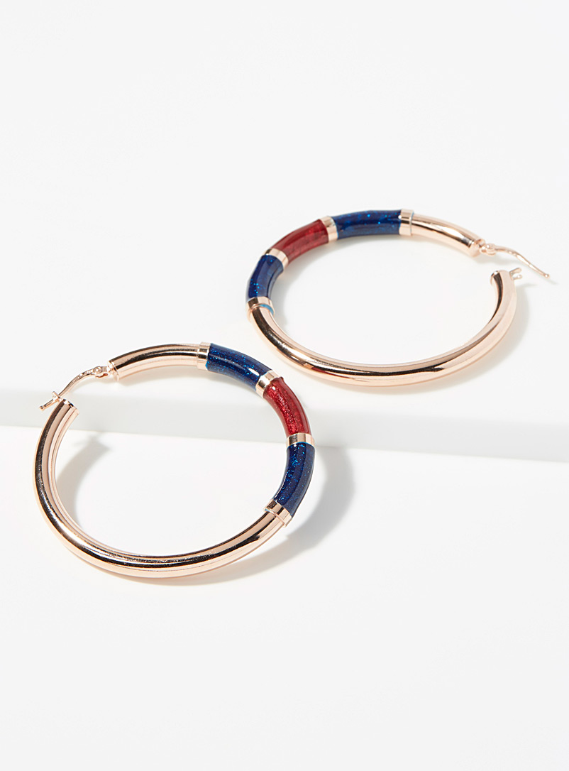 Colourful accent rose gold hoops - Genuine Silver - Assorted