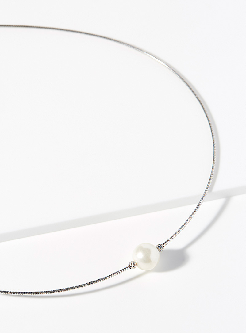 Simons Silver Pearly bead necklace for women