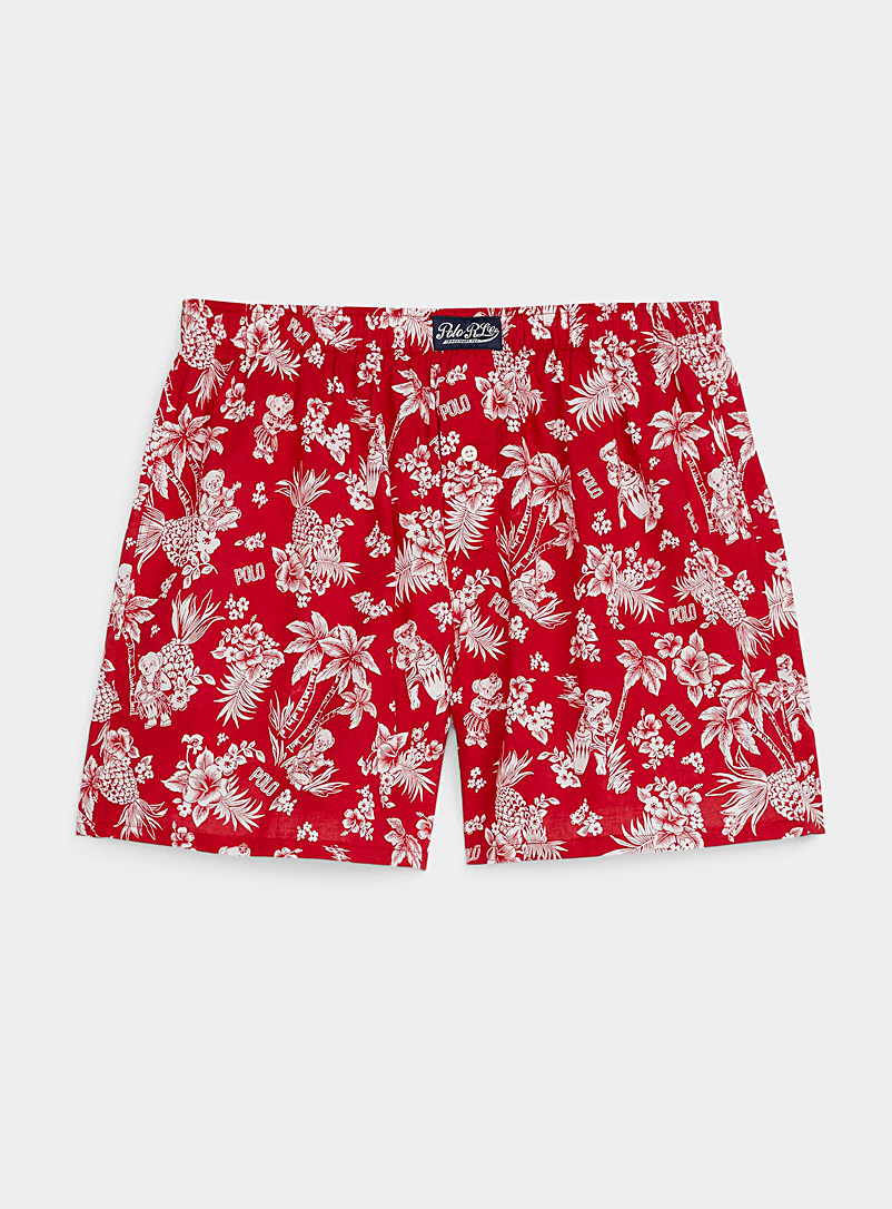 Polo Ralph Lauren Patterned Red Hawaiian teddy bear loose boxer for men