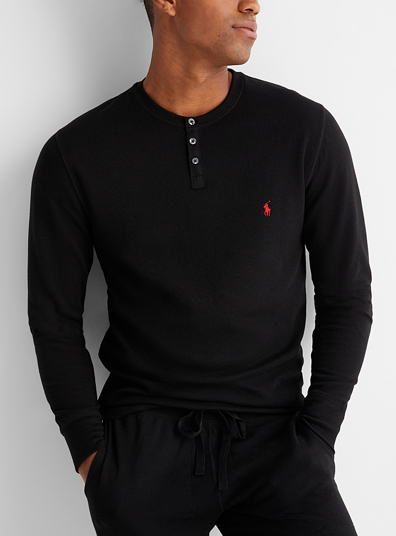Polo Ralph Lauren Black Waffled Henley lounge T-shirt for men