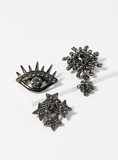 Rhinestone symbol brooches  Set of 3