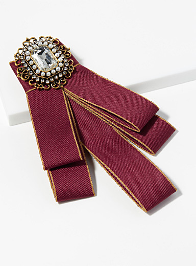 Ribbon and Swarovski stone brooch