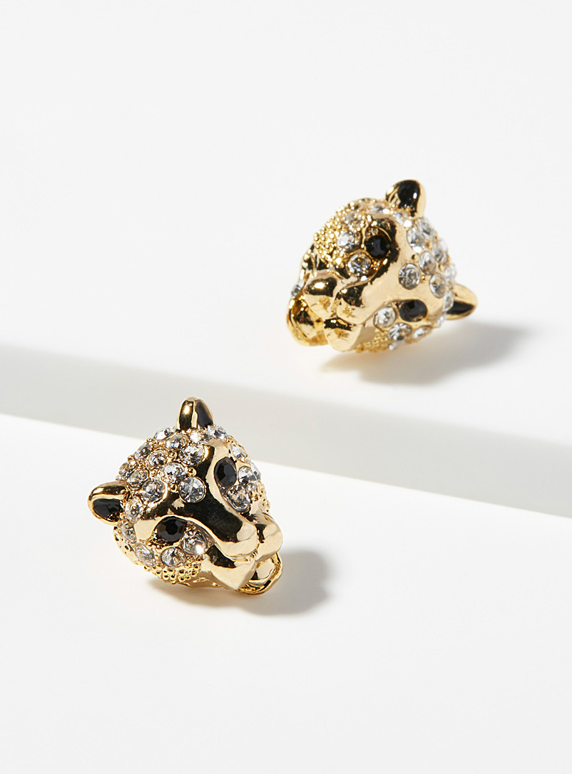 Simons Golden Yellow Sparkly feline earrings for women