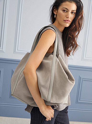 REISS Light Brown Norton suede tote for women