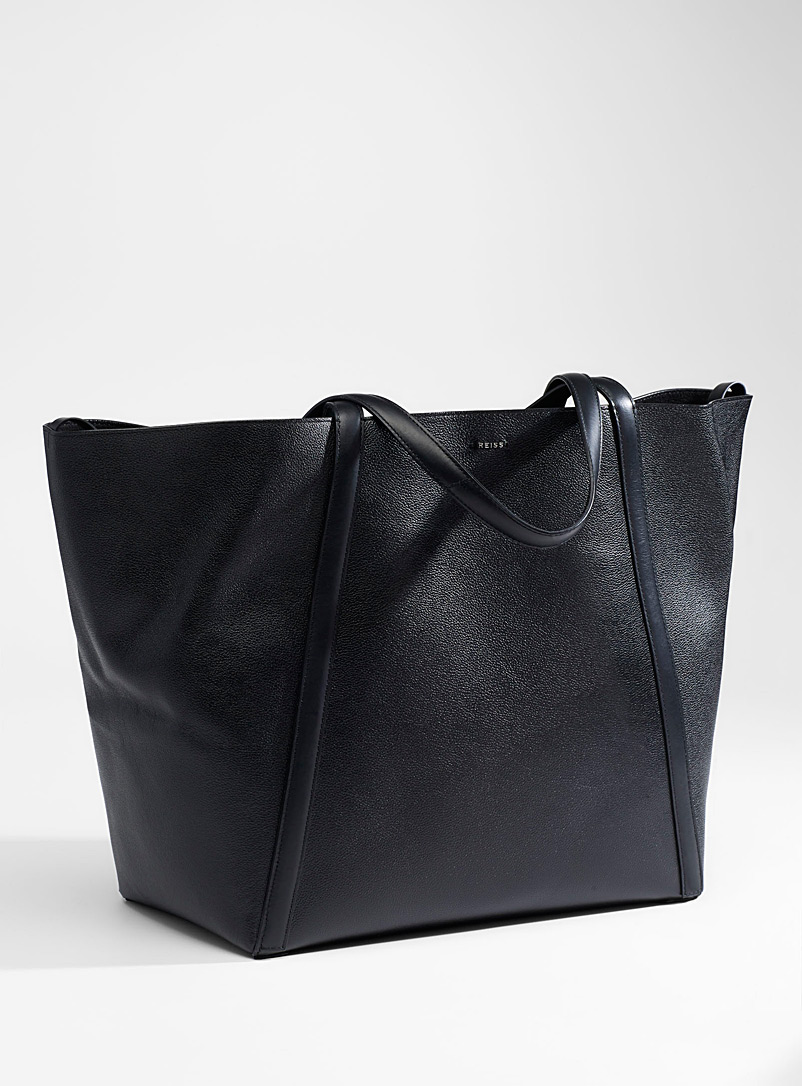 REISS Black Norton grained leather tote for women