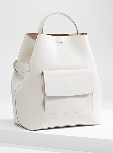 Freya grained leather tote